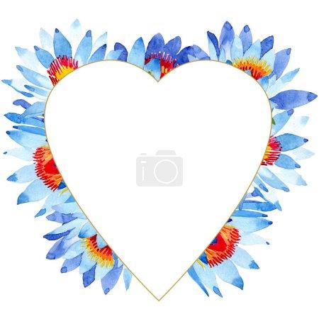 Photo pour Fleurs de lotus bleu magnifique isolés sur blanc. Illustration de fond aquarelle. Dessin aquarelle de mode aquarelle. Ornement de bordure de cadre - image libre de droit