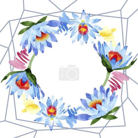 Photo pour Fleurs de lotus bleu magnifique isolés sur blanc. Illustration de fond aquarelle. Aquarelle de l'aquarelle. Ornement de trame de frontière. Minérale de bijoux cristal diamant rock. - image libre de droit