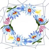 """Постер, картина, фотообои """"Цветы красивые Голубой лотос, изолированные на белом. Акварель фон иллюстрации. Акварель Акварель. Орнамент границы кадра. Кристалла алмаза рок ювелирных изделий минеральных."""""""
