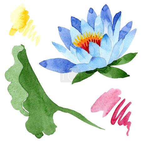 Photo pour Fleur de lotus bleu magnifique isolé sur blanc. Illustration de fond aquarelle. Aquarelle dessin élément d'illustration isolé lotus mode aquarelle. - image libre de droit