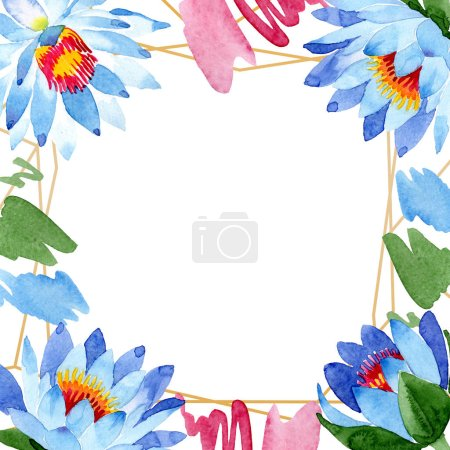 Beautiful blue lotus flowers isolated on white. Watercolor background illustration. Watercolour drawing fashion aquarelle. Frame border ornament.