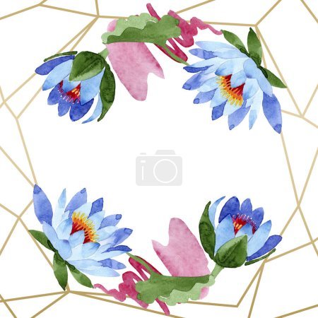 Beautiful blue lotus flowers isolated on white. Watercolor background illustration. Watercolour aquarelle. Frame border ornament. Crystal diamond rock jewelry mineral.