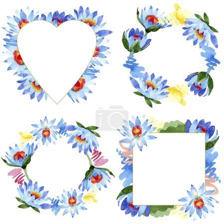 Photo pour Fleurs de lotus bleu magnifique isolés sur blanc. Ensemble de milieux aquarelle. Dessin aquarelle de mode aquarelle. Ornements de cadres - image libre de droit