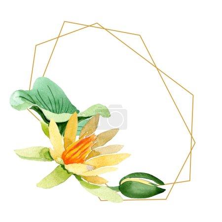 Foto de Lotus amarillo. Flor botánica floral. Wildflower de hoja de primavera salvaje aislado. Conjunto de ilustración de fondo de acuarela. Acuarela dibujo moda aquarelle aislado. Plaza de ornamento de frontera marco - Imagen libre de derechos