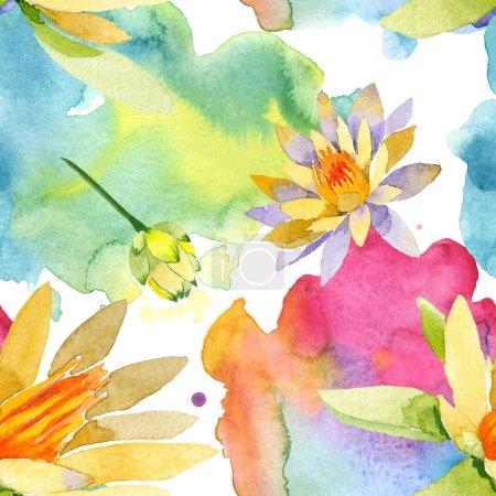 Photo pour Fleurs de belle lotus jaune isolés sur blanc. Illustration de fond aquarelle. Dessin aquarelle de mode aquarelle. Motif de fond transparente. - image libre de droit