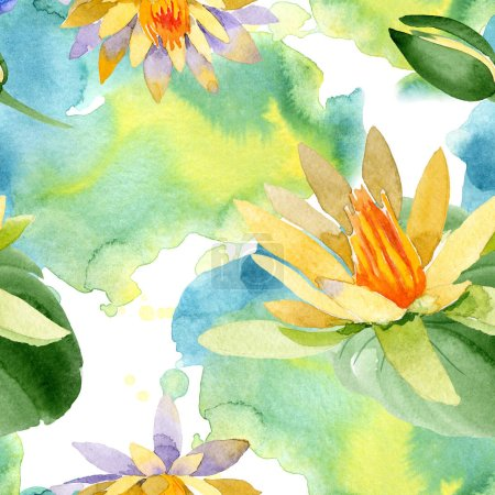 Beautiful yellow lotus flowers isolated on white. Watercolor background illustration. Watercolour drawing fashion aquarelle. Seamless background pattern.