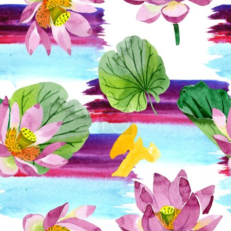 Photo for Beautiful purple lotus flowers isolated on white. Watercolor background illustration. Watercolour aquarelle. Seamless background pattern. Fabric wallpaper print texture - Royalty Free Image