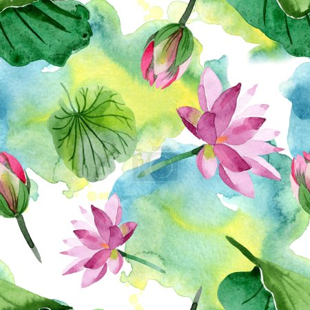 Beautiful purple lotus flowers isolated on white. Watercolor background illustration. Watercolour aquarelle. Seamless background pattern. Fabric wallpaper print texture