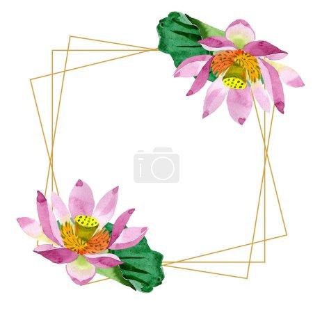 Photo pour Belles fleurs de lotus violet isolé sur blanc. Illustration de fond aquarelle. Aquarelle dessin mode aquarelle. Cadre bordure ornement cristal . - image libre de droit