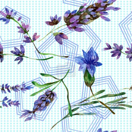 Beautiful purple lavender flowers isolated on white. Watercolor background illustration. Watercolour drawing fashion aquarelle. Seamless background pattern.