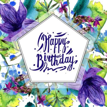 Foto de Púrpura lavanda flores aislados en blanco. Ilustración de fondo de acuarela. Aquarelle de moda dibujo de acuarela. Ornamento de la frontera del marco. Tarjeta del feliz cumpleaños - Imagen libre de derechos