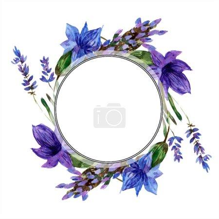 Photo pour Belles fleurs de lavande pourpre isolées sur blanc. Illustration de fond aquarelle. Aquarelle dessin mode aquarelle. Cadre bordure ornement . - image libre de droit