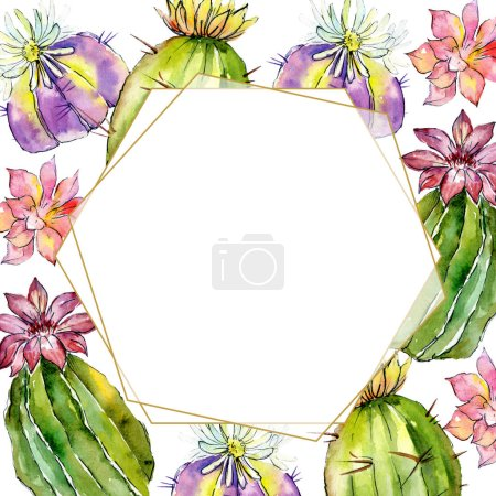 Beautiful green cactuses isolated on white. Watercolor background illustration. Watercolour drawing fashion aquarelle. Frame border ornament.