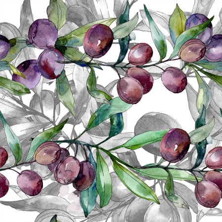 Black olives on branches with green leaves. Botanical garden floral foliage. Watercolor background illustration. Seamless background pattern. Fabric wallpaper print texture.