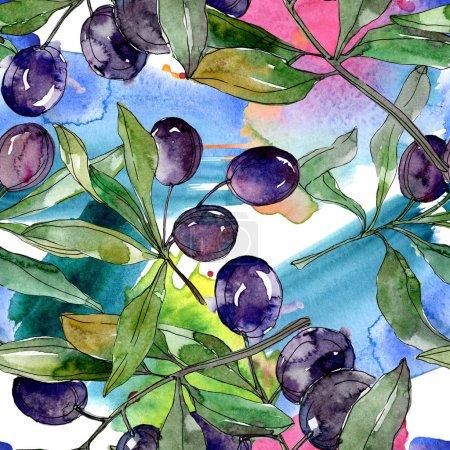 czarne-oliwki-na-oddzialy-z-zielonych-lisci-ogrod-botaniczny-kwiatowy-lisci-ilustracji-tle-akwarela-bezszwowe-tlo-wzor-tkanina-tapeta-tekstura-wydruku