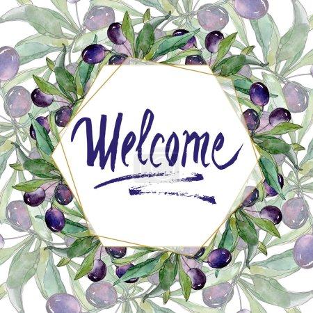 Foto de Aceitunas negras en ramas con hojas verdes. Follaje de flores de jardín botánico. Ilustración Acuarela sobre fondo blanco. Inscripción de la recepción - Imagen libre de derechos