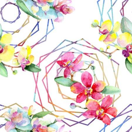 Foto de Hermosas flores de orquídea con hojas verdes. Ilustración de fondo de acuarela. Patrón de fondo transparente. Textura impresión de papel pintado de tela. - Imagen libre de derechos