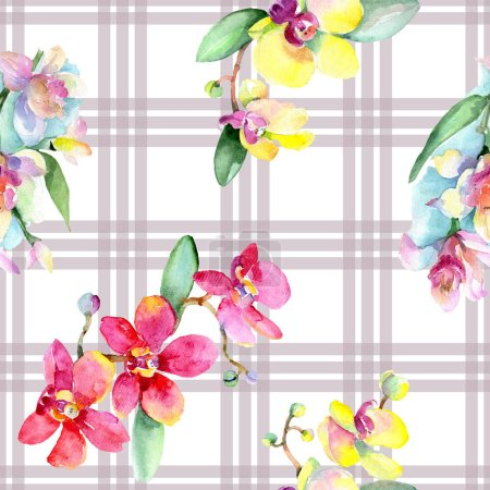 Beautiful orchid flowers with green leaves. Watercolor background illustration. Seamless background pattern. Fabric wallpaper print texture.