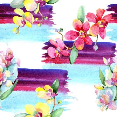 Photo pour Belles fleurs d'orchidées avec des feuilles vertes. Illustration de fond aquarelle. Motif de fond transparente. Impression texture de tissu papier peint. - image libre de droit