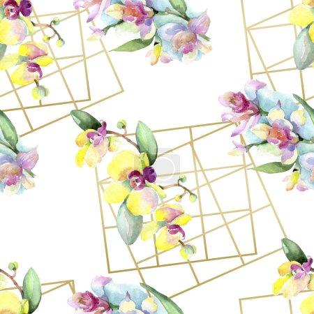 Belles fleurs d'orchidées avec des feuilles vertes. Illustration de fond aquarelle. Motif de fond transparente. Impression texture de tissu papier peint