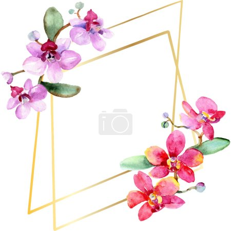 Beautiful orchid flowers with green leaves isolated on white. Watercolor background illustration. Watercolour drawing fashion aquarelle. Frame border ornament.