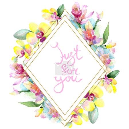 Foto de Hermosas flores de orquídea con hojas verdes aisladas en blanco. Ilustración de fondo de acuarela. Aquarelle de moda dibujo de acuarela. Ornamento de la frontera del marco. Para la inscripción - Imagen libre de derechos