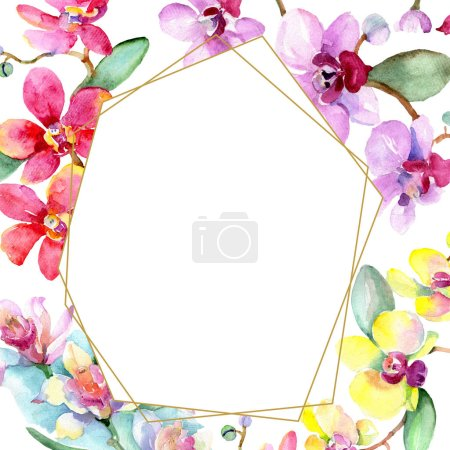 Photo for Beautiful orchid flowers with green leaves isolated on white. Watercolor background illustration. Watercolour drawing fashion aquarelle. Frame border ornament. - Royalty Free Image