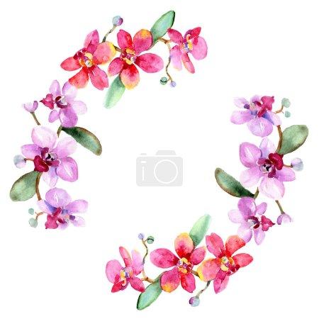 Foto de Hermosas flores de orquídea con hojas verdes aisladas en blanco. Ilustración de fondo de acuarela. Aquarelle de moda dibujo de acuarela. Ornamento del marco de la frontera. - Imagen libre de derechos