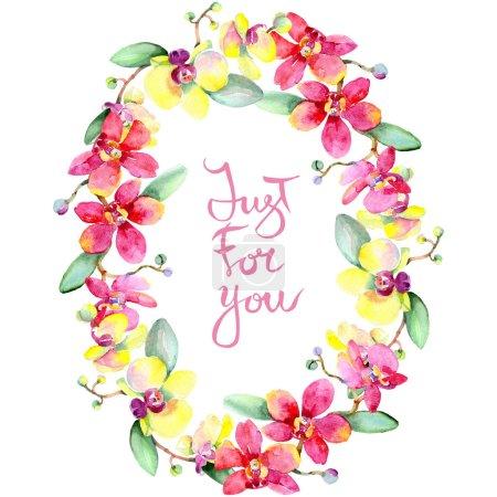 Photo pour Belles fleurs d'orchidées avec des feuilles vert isolés sur blanc. Illustration de fond aquarelle. Dessin aquarelle de mode aquarelle. Ornement de trame de frontière. Juste pour vous inscription - image libre de droit