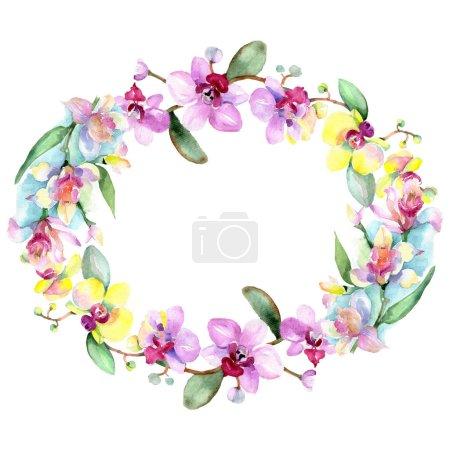 Photo pour Belles fleurs d'orchidées avec des feuilles vert isolés sur blanc. Illustration de fond aquarelle. Dessin aquarelle de mode aquarelle. Ornement de bordure de cadre - image libre de droit