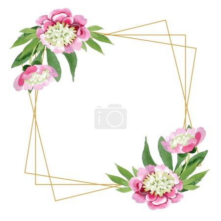 Photo for Beautiful pink peony flowers with green leaves isolated on white background. Watercolour drawing aquarelle. Frame border ornament. Diamond jewelry mineral. - Royalty Free Image