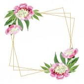 """Постер, картина, фотообои """"Красивый Розовый пион цветы с зелеными листьями, изолированные на белом фоне. Акварель Акварель и рисования. Орнамент границы кадра. Алмазные ювелирные изделия минеральных"""""""