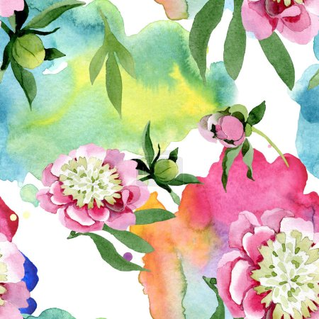 Photo for Beautiful pink peony flowers with green leaves isolated on white background. Watercolour drawing aquarelle. Seamless background pattern. Fabric wallpaper print texture. - Royalty Free Image