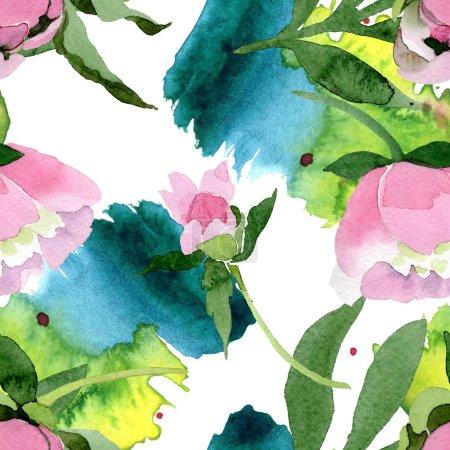 Photo pour Belles fleurs pivoines roses avec des feuilles vertes isolées sur fond blanc. Aquarelle dessin aquarelle. Modèle de fond sans couture. Texture d'impression papier peint tissu . - image libre de droit
