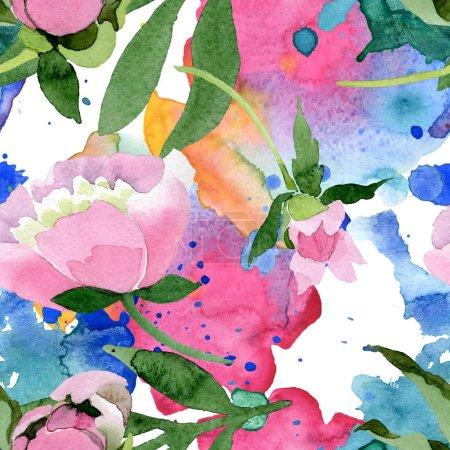 Foto de Flores de la hermosa peonía rosa con hojas verdes aisladas sobre fondo blanco. Aquarelle Dibujo Acuarela. Patrón de fondo transparente. Textura impresión de papel pintado de tela - Imagen libre de derechos