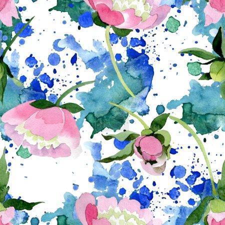 Photo pour Fleurs de pivoine rose magnifique avec des feuilles vert isolés sur fond blanc. Aquarelle dessin aquarelle. Motif de fond transparente. Impression texture de tissu papier peint - image libre de droit