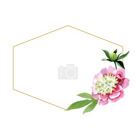 Beautiful pink peony flower with bud and green leaves isolated on white background. Watercolour drawing aquarelle. Frame border ornament. Diamond jewelry mineral.