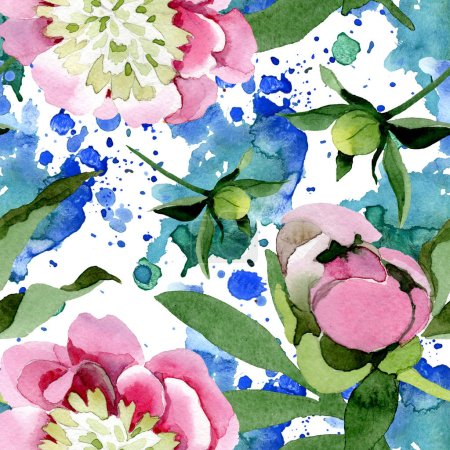 Beautiful pink peony flowers with green leaves isolated on white background. Watercolour drawing aquarelle. Seamless background pattern. Fabric wallpaper print texture.
