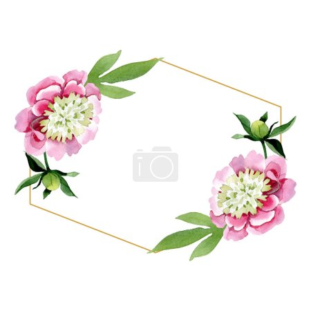 Beautiful pink peony flowers with green leaves isolated on white background. Watercolour drawing aquarelle. Frame border ornament. Diamond jewelry mineral.