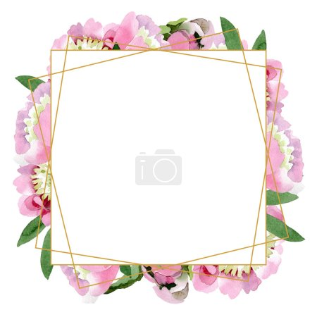 Photo for Beautiful pink peony flowers with green leaves isolated on white background. Watercolour drawing aquarelle. Frame border ornament. - Royalty Free Image