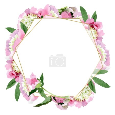 Beautiful pink peony flowers with green leaves isolated on white background. Watercolour drawing aquarelle. Frame border ornament.
