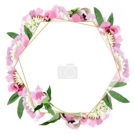 Hermosas flores de peonía rosa con hojas verdes aisladas sobre fondo blanco. acuarela dibujo acuarela. Marco ornamento frontera .