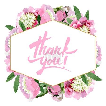 Photo pour Fleurs de pivoine rose magnifique avec des feuilles vert isolés sur fond blanc. Aquarelle dessin aquarelle. Ornement de trame de frontière. Je vous remercie de calligraphie de l'écriture manuscrite - image libre de droit