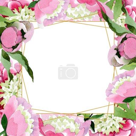 Photo pour Fleurs de pivoine rose magnifique avec des feuilles vert isolés sur fond blanc. Aquarelle dessin aquarelle. Ornement de bordure de cadre - image libre de droit