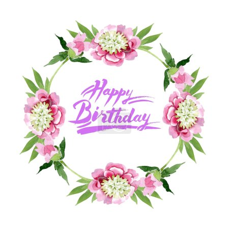 Photo for Beautiful pink peony flowers with green leaves isolated on white background. Watercolour drawing aquarelle. Frame border ornament. Happy birthday handwriting calligraphy - Royalty Free Image