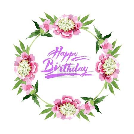 Foto de Flores de la hermosa peonía rosa con hojas verdes aisladas sobre fondo blanco. Aquarelle Dibujo Acuarela. Ornamento de la frontera del marco. Caligrafía letra de feliz cumpleaños - Imagen libre de derechos