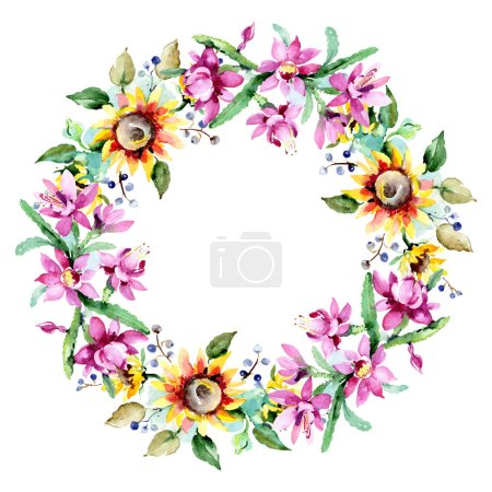 Foto de Flores Acuarela sobre fondo blanco. Aquarelle Dibujo Acuarela. Ramo aislado del elemento de ilustración de flores. Ornamento del marco de la frontera - Imagen libre de derechos