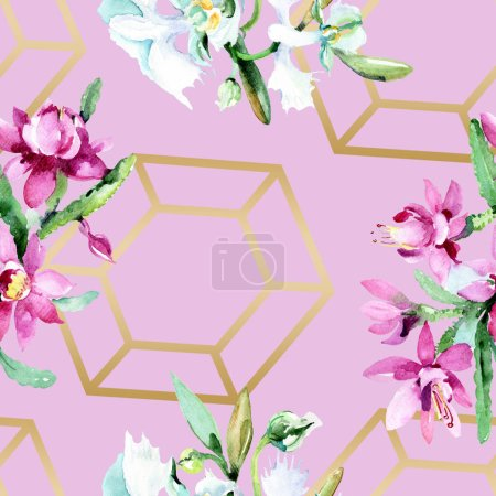 Beautiful watercolor flowers background. Watercolour drawing aquarelle. Seamless background pattern. Fabric wallpaper print texture.