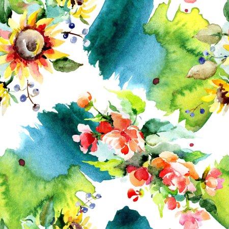 Photo pour Beau fond de fleurs aquarelle. Aquarelle dessin aquarelle. Modèle de fond sans couture. Texture d'impression papier peint tissu . - image libre de droit
