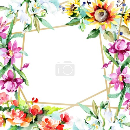 Photo for Beautiful watercolor flowers on white background. Watercolour drawing aquarelle. Isolated bouquet of flowers illustration element. Frame border ornament. - Royalty Free Image